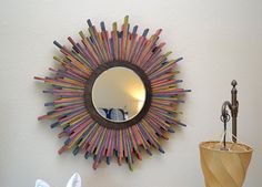 Wood Shim Starburst Wall Mirror