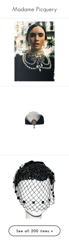 """""""Madame Picquery"""" by gunhild-vike-neraas ❤ liked on Polyvore featuring accessories, hats, bags, vintage, feathers, feather hat, vintage feather hat, vintage hats, balenciaga and veils"""