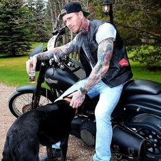 Even the pup has a collar on today! Biker Leather, Leather Men, Marshall Perrin, Tatted Guys, Hot Guys Tattoos, Handsome Older Men, Motorcycle Men, Inked Men, Biker Style