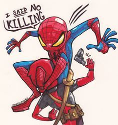 Spidey using his infamous crotch move to disarm Deadpool, art by Mandy Lasers