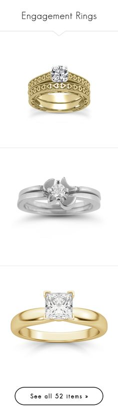 """""""Engagement Rings"""" by applesofgoldjewelry ❤ liked on Polyvore featuring jewelry, rings, heart shaped rings, yellow gold wedding rings, wedding set ring, gold ring, gold heart ring, white gold diamond jewelry, set rings and 14k jewelry"""