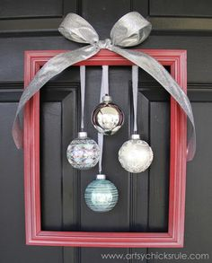 Easy, DIY Framed Ornament Wreath - finished - Welcome Home Tour - #wreath #diy #ornamentwreath artsychicksrule.com