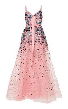 Embellished Gown by Elie Saab Pink Evening Gowns, A Line Evening Dress, Pink Gowns, A Line Gown, Pretty Dresses, Beautiful Dresses, Women's Dresses, Flapper Dresses, Long Dresses