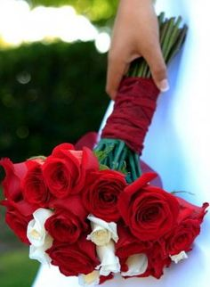Bridal Bouquet   Red and Cream Roses