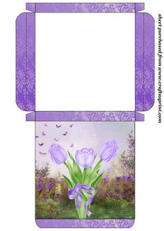 Purple tulips card box on Craftsuprint designed by Sharon Poore -