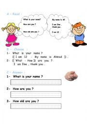 English worksheet: what´s your name-how are you-how old are you