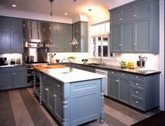 Slate blue cabinets