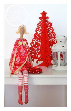 тильда red dressed Christmas  doll