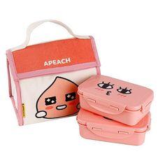 Kakao Friends  Lunch Box 2 Containers Bag Apeach #KakaoFriends
