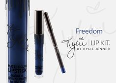 Freedom | Lip Kit Contains: 1 Matte Liquid Lipstick (0.11 fl oz./oz. liq / 3.25 ml) and 1 Pencil Lip Liner (net wt./ poids net .03 oz/ 1.0g) The #KylieCosmetics LipKit is your secret weapon to create the perfect 'Kylie Lip.' Each Lip Kit comes with a Matte Liquid Lipstick and matching Lip Liner. Freedom is a rich navy blue. This ultra-long wearing lip liner has a creamy texture that glides across the lips for a very easy and comfortable application. The Lip Liner sharpens easily in most stan