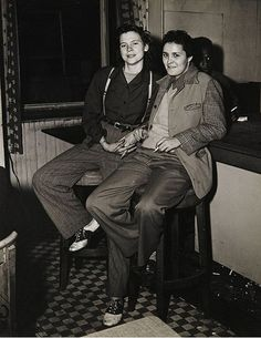 """1940s bar couple- Women who want to make lives together brave ridicule & verbal abuse in the 1940s but rarely physical conflict.  """"There was a great difference in looks between a lesbian & her girl.  You had to take a streetcar- very few people had cars.  And people would stare & such."""""""