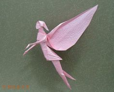 "Origami diagram of the fairy ~definitely gotta make these if i want my room to h. Origami diagram of the fairy ~definitely gotta make these if i want my room to have a sort of ""wo Origami Ball, Diy Origami, Origami Simple, Origami Paper Folding, Origami Mouse, Origami Yoda, Origami Star Box, Origami And Kirigami, Origami Tutorial"
