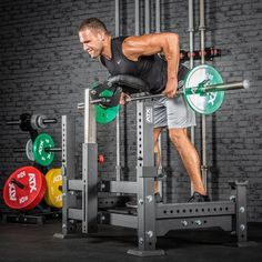 Good idea for people who have back problems. I personally put a bar pad around the bar & put the bar on the j hooks & rest my forehead on it while I'm doing the bar rows. Lay the bar on the spotter arms when I finish. Weight Lifting Equipment, No Equipment Workout, Smith Machine, Home Gym Design, Remo, Squats, Old School, Bodybuilding, Fat Burner