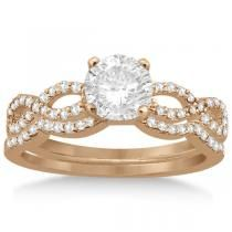 Twisted Infinity Diamond Engagement Ring Setting 14K Rose Gold 0.21ct