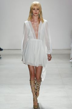 Rebecca Minkoff | Spring 2016 Ready-to-Wear | 01 White long sleeve mini dress with deep V-neck