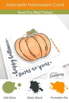 "These simple but super sweet handmade pumpkin cards are easy to make, come together super quick thanks to some handy tips and are perfect to send to anyone who loves Halloween. Trick or treat cards are a fun way to celebrate Halloween with anyone who might be to grown up to go door to door! Click through and learn some of my ""trade secrets""! Pumpkin Cards, Handy Tips, Helpful Hints, Pumpkin Uses, Fun Mail, Trade Secret, Alcohol Markers, Glue Dots, Free Paper"