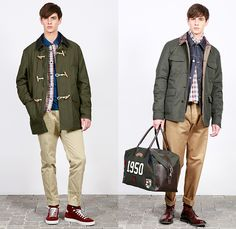 (03a) Cotton Nylon Field Jacket with Corduroy Collar With Mariner Toggles - (03b) Bottle Green Padded Nylon Parka with Contrast Cotton Nylon Facing and Shetland Check Collar - Tumbled Denim Blouson With Shetland Check Yoke - 48 Hour Leather And Nylon Bag With Badges - F. by Façonnable 2014-2015 Fall Autumn Winter Mens Lookbook Collection - Nice France Fashion Mode Automne Hiver - Denim Jeans Outerwear Coat Jacket Parka Strap Backpack Checks Corduroy Motorcycle Biker Rider Slim Nylon Hoodie…