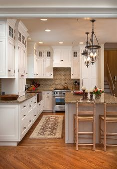 cozy kitchen Westwood Cabinetry and Millwork - like to color combo of cabinet, backsplash, and counter