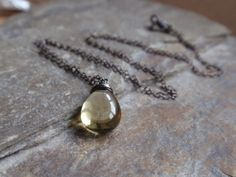 Gorgeous green olive quartz necklace with oxidised sterling silver £32.00