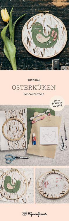 Tutorial: Osterküken im Scandi-Style Spoonflower, Diy Ostern, Scandi Style, Blog, Inspiration, Fabric Patterns, Stencils, Eggs, Velvet