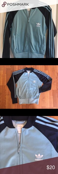 True vintage retro Adidas track jacket Small Authentic vintage Adidas track jacket. Women's size small in light blue and dark blue. Can fit a small medium also.  In great condition for vintage. Shorter style track jacket. adidas Jackets & Coats