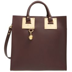 Sophie Hulme 'Large' Leather Square Tote ($895) ❤ liked on Polyvore featuring bags, handbags, tote bags, oxblood, brown purse, leather purse, brown leather handbags, genuine leather purse and leather tote
