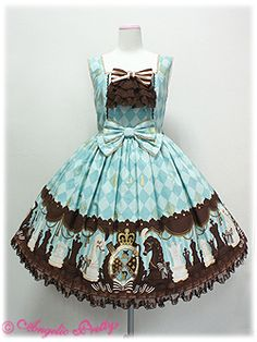 Angelic Pretty / Jumper Skirt / Chess Chocolate JSK with Jabot Pink or Sax