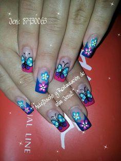 Uñas Fancy Nail Art, Cute Nail Art, Beautiful Nail Art, Shellac Nail Designs, Shellac Nails, Nail Art Designs, Nail Nail, Butterfly Nail Art, Flower Nail Art