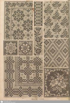 - Der Bazar - Page - Digitale Sammlungen - Digital Collections Cross Stitch Sampler Patterns, Cross Stitch Borders, Cross Stitch Embroidery, Embroidery Patterns, Crochet Patterns, Fair Isle Knitting Patterns, Knitting Charts, Fillet Crochet, Mittens Pattern