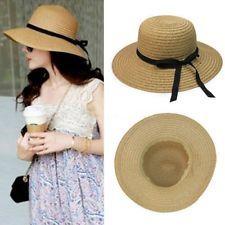 Summer Lady Wide Brim Sun Hat Floppy Straw Elegant Vintage Bohemia Beach Cap