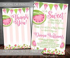 Watermelon Baby Shower Invitation, Watermelon Invitation, Watermelon Baby Shower Invite, Summer Baby Shower, Pink, Digital or Printed #686 by PerfectPrintableCo on Etsy