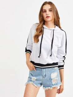 Striped Trim Contrast Panel Sleeve HoodieFor Women-romwe