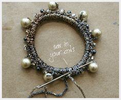 Beaded, crochet, hair elastics http://www.trinketsinbloom.com/beaded-hair-elastics-diy/