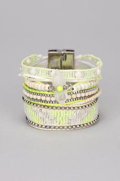 Multi bracelet jaune perles Limon
