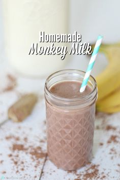 Why monkey milk? No idea. Seemed catchy, and there is a banana in it. This monkey milk is creamy, sweet, chocolaty, and has some added protein in it that the kids will love. #ablossominglife #monkeymilk #homemadedrinks