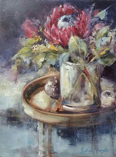 Isabel Naudé Protea Art, Protea Flower, Paintings I Love, Beautiful Paintings, Wolves And Women, South African Artists, Cottage Art, Still Life Art, Mixed Media Painting