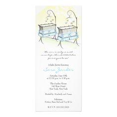 Twin Boys Baby Shower Invitation - Baby Cribs