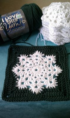 Snowflake Crochet Blanket Pattern Ravelry Snowflake Granny Square Afghan Pattern Joanne Kundra Snowflake Crochet Blanket Pattern How To Make A Crocheted Snowflake Square Diy Crafts Tutorial. Snowflake Crochet Blanket Pattern How To Make A Magic . Crochet Motifs, Granny Square Crochet Pattern, Crochet Blocks, Crochet Squares, Knit Or Crochet, Crochet Crafts, Crochet Stitches, Crochet Projects, Afghan Crochet