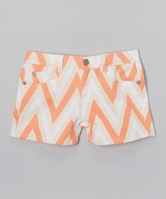 Look at this #zulilyfind! White & Orange Zigzag Denim Shorts by Lulu Luv #zulilyfinds