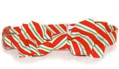 Peppermint Stick, Christmas Dog Collar Bow Tie, Dog Collar Attachment. $11.00, via Etsy.