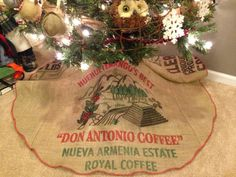 Rustic Christmas Tree Skirt Shabby Chic Recycled Burlap Coffee Bean Bag On