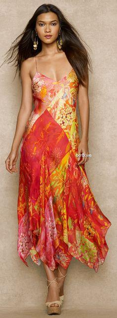 Ralph Lauren Floral-Print Silk Dress