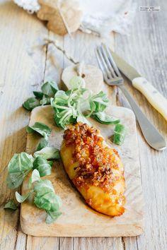 Pechuga de pollo en costra de ajo y azúcar moreno. Receta