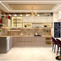 Mr. sunny roy's luxury modern kitchen | kolkata west bengal | cdi custom design interiors pvt. ltd. modern kitchen tiles amber/gold | homify Kitchen Ceiling Design, Kitchen Pantry Design, Luxury Kitchen Design, Interior Design Kitchen, Room Interior, Modern Kitchen Tiles, Kitchen Modular, Modern Kitchen Cabinets, Modern Kitchen Interiors