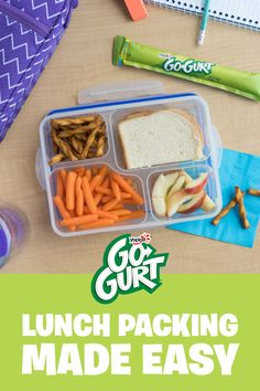 Packing lunches just got better! Add a frozen tube of Go-GURT to their bag and it'll thaw by lunch. Nailed it! Lunch Snacks, Healthy Snacks, Lunch Box, Picnic Activities, Work From Home Moms, Kids Meals, Make It Simple, The Best, Meal Prep