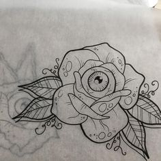 Eyeball rose, second variant. Because I really really want to tattoo these.