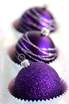 Love purple decorations on my Christmas tree