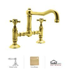 Country Kitchen Bridge Faucet with Metal Lever Handles