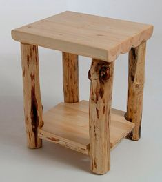 Rustic log furniture Mountain Hewn End Table by MistyMtnFurn