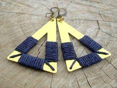 Midnight Blue Triangle Earrings by gypsysouljewellery on Etsy, €25.00